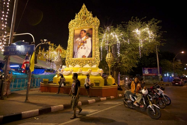 A portrait of King Bhumibol Adulydej is displayed in a central part of the city as it was occupied by anti-government protesters on December 4, 2013 in Bangkok, Thailand.  (Ed Wray/Getty Images)