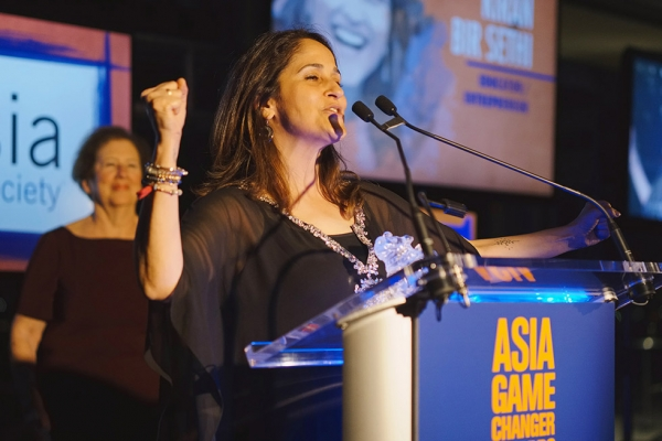 Riverside School founder Kiran Bir Sethi speaks in New York on October 13, 2015 after receiving her Asia Game Changer award, which recognizes those making a transformative and positive difference for the future of Asia and the world. (Jamie Watts/Asia Society)