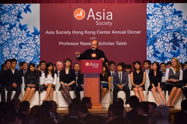 In keeping with Hong Kong Annual Dinner tradition, local students, seated onstage with Nassim Nicholas Taleb, attended as guests. (Asia Society Hong Kong Center)