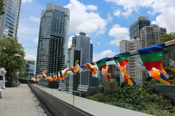 Nepalese prayer flags honoring Nepal earthquake victims were flown during Asia Society Hong Kong's Nepal Family Day fundraiser event in Hong Kong on June 14, 2015. (Stanley Kong/Asia Society)