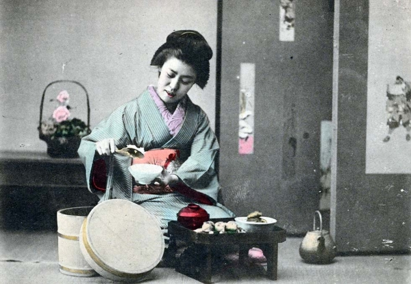 """Woman dishing rice into bowl."" 1901-1907. (New York Public Library)"