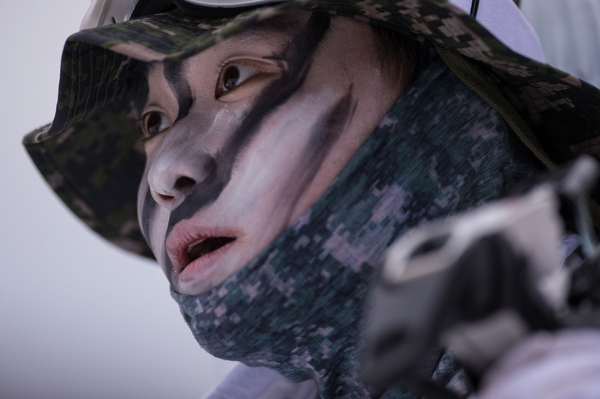 A South Korean soldier walks in the snow during a joint annual winter exercise with U.S. troops in Pyeongchang, South Korea on January 28, 2016. (Ed Jones/AFP/Getty)