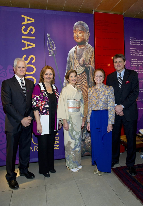 (L to R) Edwin Schlossberg, Asia Society President Josette Sheeran, Ambassador Caroline Kennedy, Asia Society Co-Chair Henrietta H. Fore, and Asia Society Executive Vice President Tom Nagorski stand at the opening of Asia Society New York's Kamakura exhibition. (Elena Olivo/Asia Society)