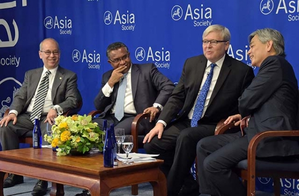 (L to R) Daniel Russel, Rui Maria de Arujo, Kevin Rudd, and Albert Chua discuss ASEAN at Asia Society in New York on September 23, 2016. (Elsa Ruiz/Asia Society)