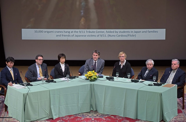 Participants in exchanges between survivors of the 9/11 terror attacks and the 3/11 Great Japan Earthquake and Tsunami share their stories at Asia Society in New York on March 8, 2016.