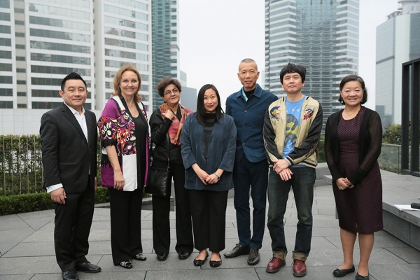 From left to right, Vice President of Global Arts & Cultural Programs and Director of Asia Society Museum Boon Hui Tan, Asia Society President and CEO Josette Sheeran, 2016 Asia Arts Awards honoree Nalini Malani, Asia Society Museum Senior Curator for Modern and Contemporary Art Michelle Yun, 2016 Asia Arts Awards honoree Cai Guo-Qiang, 2016 Asia Arts Awards honoree Yoshitomo Nara, and Asia Society Hong Kong Executive Director Alice Mong.