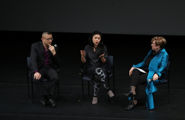 Composer and librettist Huang Ruo and director/designer Jennifer Wen Ma, talk about 'Paradise Interrupted' during a discussion with Rachel Cooper, Director of Global Performing Arts and Special Cultural Initiatives at Asia Society, on April 5, 2016. (Ellen Wallop/Asia Society)