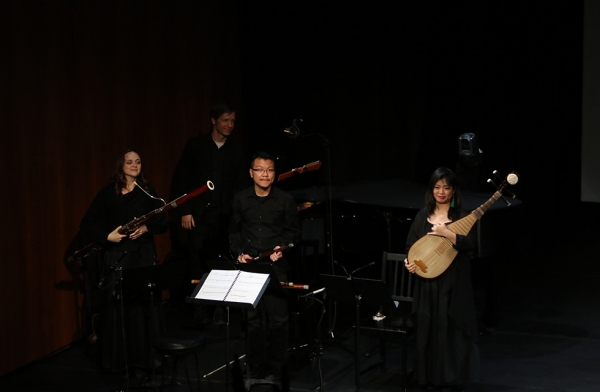 The music ensemble of 'Paradise Interrupted' on April 5, 2016. (Ellen Wallop/Asia Society)