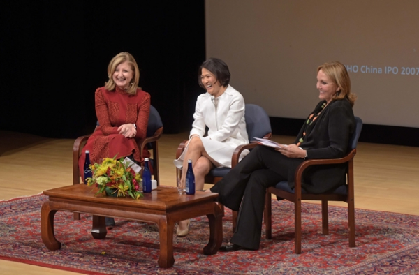 Arianna Huffington, Zhang Xin, and Josette Sheeran enjoy a light moment during a conversation about women in leadership at Asia Society in New York on September 29, 2016. (Elsa Ruiz/Asia Society)