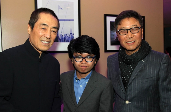 Zhang Yimou (L), Joey Alexander (C), and Soo-Man Lee at the Asia Society Asia Game Changers awards at the United Nations in New York on October 27, 2016. (Ellen Wallop/Asia Society)