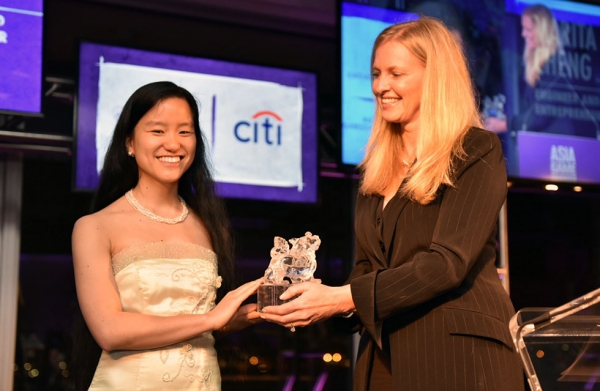 Marita Cheng is presented with her Asia Society Asia Game Changer award at the United Nations in New York on October 27, 2016. (Jamie Watts/Asia Society)