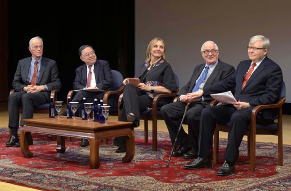From left: Robert Oxnam, Ronnie Chan, Josette Sheeran, Nicholas Platt, and Kevin Rudd discuss Asia Society on its 60th anniversary. (Elsa Ruiz/Asia Society)