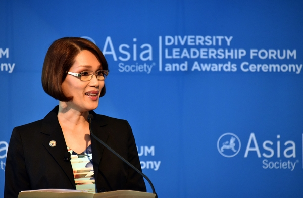 Filipina Congresswoman Geraldine Roman, the country's first transgender politician, giving a keynote address at Asia Society's Diversity Leadership Forum on June 10, 2016 in New York. (Asia Society/Ellen Wallop)