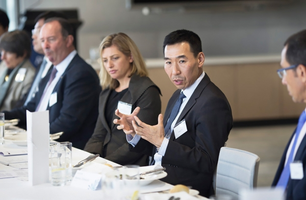Ambassador-designate to the Republic of Korea James Choi discusses the current state of Australia-Korea relations as part of Asia Society Australia's 'Policy Briefing' series in Sydney on November 23, 2016. (Asia Society/Ellis Cowan)
