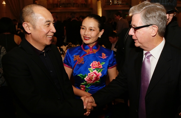 (L-R) Writer, director, and producer, Cao Baoping, Chinese Cultural Attache at the Chinese Consulate in Los Angeles Wang Jin, and Chairman Asia Society Southern California Thomas McLain pose during the 2016 U.S.-China Film Gala Dinner held at the Millennium Biltmore Hotel on November 2, 2016, in Los Angeles, California. (Asia Society/ Capture Imaging)