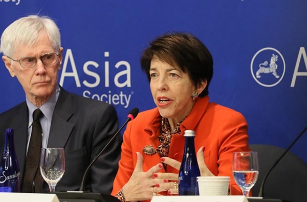 "Orville Schell (L) and Susan Shirk speak at the launch of the new report ""U.S. Policy Toward China: Recommendations for a New Administration."" (Ellen Wallop/Asia Society)"