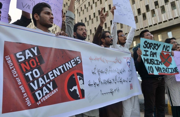Pakistani men protest against Valentine's Day celebrations in Karachi on February 12, 2017.