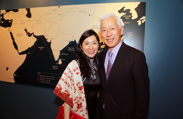 Asia Society trustees and exhibition chairs Oscar Tang and Dr. Agnes Hsu-Tang attend exhibition opening festivities at Asia Society New York on March 6, 2017. (Ellen Wallop/Asia Society)