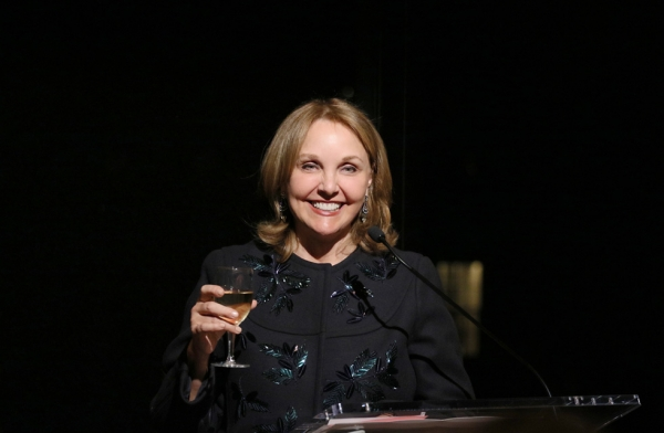 "President and CEO of Asia Society Josette Sheeran welcomes a VIP crowd to the dinner celebrating the opening of Asia Society Museum's spring exhibition ""Secrets of the Sea: A Tang Shipwreck and Early Trade in Asia"" in New York on March 6, 2017. (Ellen Wallop/Asia Society)"