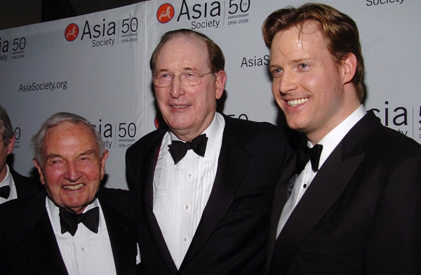 "(L to R) David Rockefeller, John ""Jay"" Rockefeller IV, and Charles Rockefeller at the Asia Society 50th Anniversary Gala Dinner at the Waldorf-Astoria in 2006. (Patrick McMullan/Getty Images)"