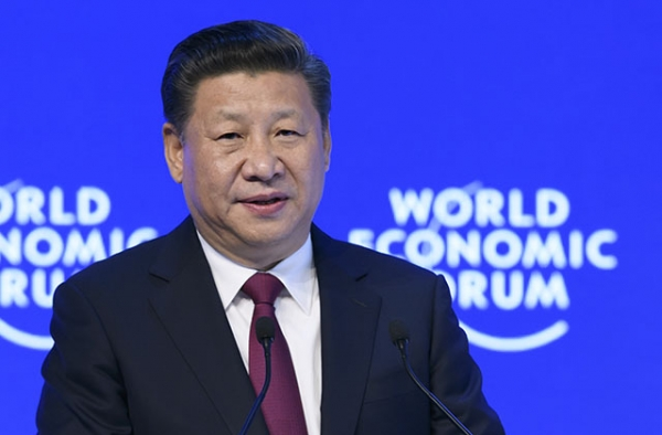 China's President Xi Jinping delivers a speech on the opening day of the World Economic Forum, on January 17, 2017 in Davos. (Fabrice Coffrini/AFP/Getty)