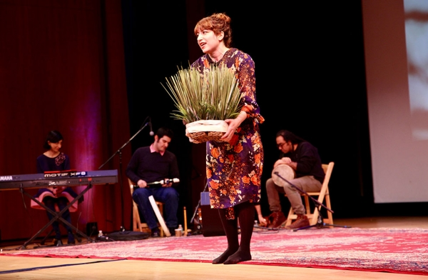 A performer from J-Hoon Musical Ensemble teaches audiences about some of the traditions of Nowruz at Asia Society New York on March 18, 2017. (Ali Yousefian/Asia Society)