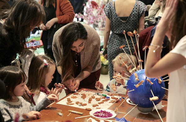 Both kids and adults enjoy an array of crafts and educational workshops celebrating Nowruz at Asia Society New York on March 18, 2017. (Ali Yousefian/Asia Society)