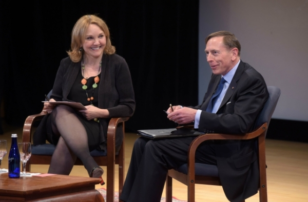 Asia Society President and CEO Josette Sheeran shares a laugh with General (Ret.) David Petraeus at Asia Society in New York on April 11, 2017. (Elsa Ruiz/Asia Society)