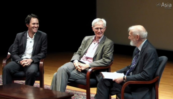 L to R: John Delury, Orville Schell, and Jonathan Spence at Asia Society New York on July 16, 2013.