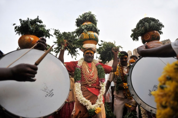 Indian devotees at the Boanlu Festival in Hyderabad.