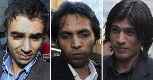 Former Pakistani cricketers Salman Butt (L), Mohammad Asif (C), and Mohammad Aamer (R) have been found guilty of match-fixing. (Carl Court /AFP/Getty Images)