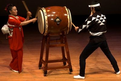 Members of Kodo, the famous Japanese taiko troupe, perform March 14, 2011 at the Asia Society in New York.
