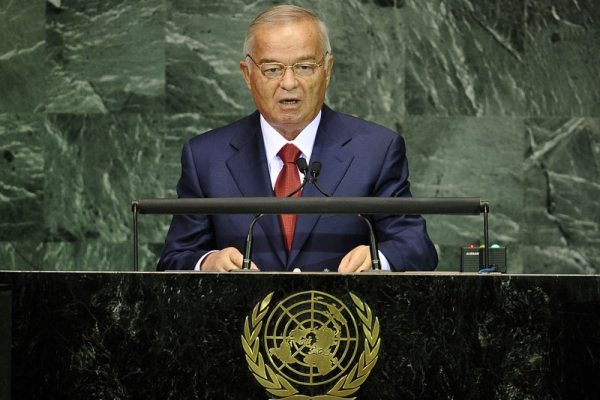 "Uzbekistan President Islam Karimov addresses UN headquarters in New York on Sept. 20, 2010. A lawsuit currently in French courts reveals Karimov's family to be sensitive about his being referred to as a ""dictator."" (Emmanuel Dunand/Getty Images)"