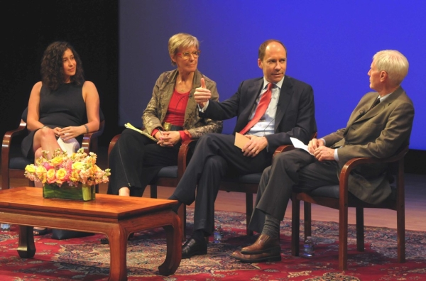 L to R: 2012 Osborn Elliott Prize Winner April Rabkin, Deputy Executive Director of Human Rights Watch Carroll Bogert, Washington Post Executive Editor Marcus Brauchli, and Arthur Ross Director of Asia Society's Center on U.S.-China Relations Orville Schell. (Elsa Ruiz/Asia Society)