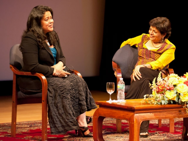 Maya Soetoro-Ng (L) with Asia Society President Vishakha Desai in New York on July 10, 2012. (Nan Melville/Asia Society)