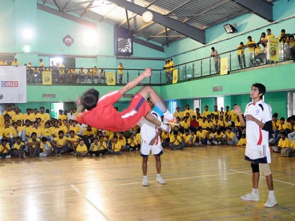A sepak takraw match at the first-anniversary celebrations for the Uflex 'Khelo Dilli' campaign, organized by Stairs, in New Delhi on April 29, 2012. (stairs.org.in)