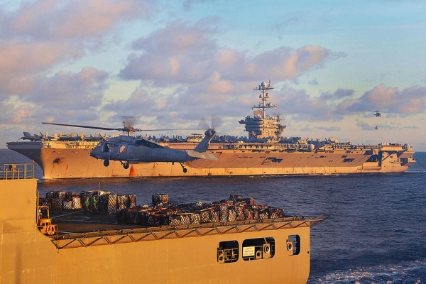 U.S. aircraft carriers in the South China Sea on July 8, 2012. (U.S. Navy/Declan Barnes/Flickr)