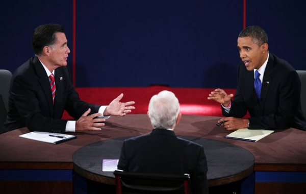 U.S. President Barack Obama (R) debates with Republican presidential candidate Mitt Romney (L) as moderator Bob Schieffer (C) listens at Lynn University on Oct. 22, 2012 in Boca Raton, Florida. (Win McNamee/Getty Images)