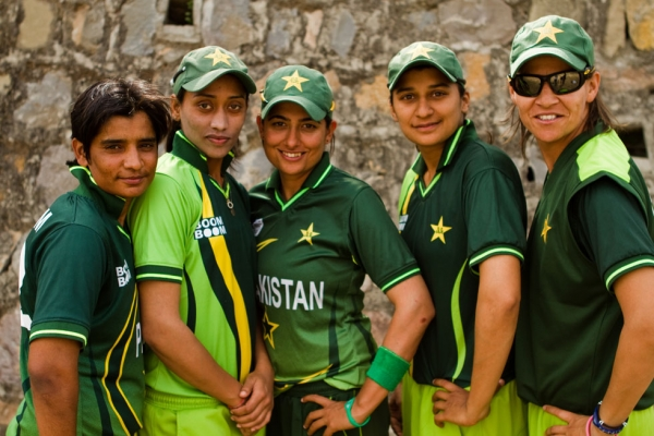 "L to R: Sadia Yousaf, Batool Fatima, Sana Mir, Asmavia Iqbal and Qanita Jalil of the Pakistan Women's Cricket Team, featured in ""The Other Half of Tomorrow."" (Andreas Burgess)"