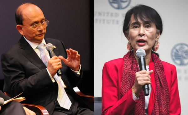 Myanmar president Thein Sein (L) and legislator Aung San Suu Kyi (R) speaking at Asia Society events in 2012. Aung San Suu Kyi was last year's winner of our reader poll for Asia's Person of the Year — will her countryman take her spot this year? (Kenji Takigami/Joshua Roberts)