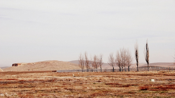 Dried patches of grass and leafless trees dot a long and empty road in Iran on February 4, 2013. (Amélie lai/Flickr)