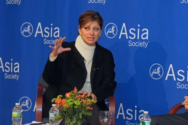 CNBC anchor Maria Bartiromo served as Greenberg's interlocutor for the discussion. (Elsa Ruiz/Asia Society)