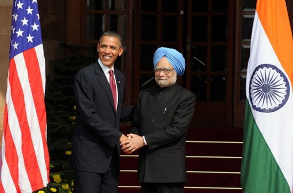 U.S. President Barack Obama and Indian Prime Minister Manmohan Singh in New Delhi on November 8, 2010. (Prakash Singh/AFP/Getty Images)