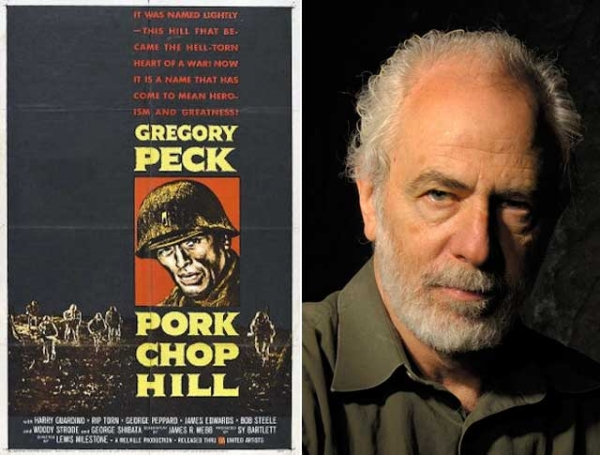 "L: Poster art for ""Pork Chop Hill"" (1959); R: Historian Richard Slotkin. (Bill Burkhardt/neh.gov)"