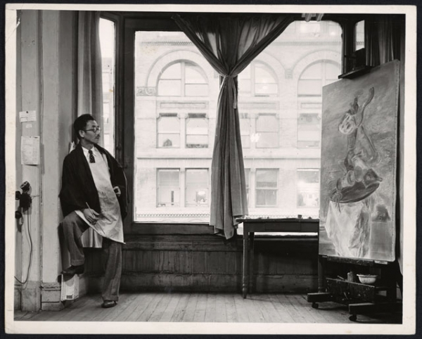 Yasuo Kuniyoshi in his studio at 20 East 14th Street in New York City on October 31, 1940. (Max Yavno/W.P.A./Archives of American Art)