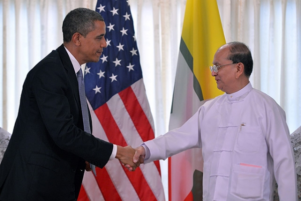 U.S. President Barack Obama shakes hands with Myanmar's President Thein Sein (R) after a meeting at the regional parliament building in Yangon on November 19, 2012. (Jewel Samad/AFP/Getty Images)
