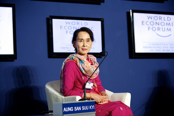 Aung San Suu Kyiat the World Economic Forum on East Asia in Naypyidaw, Myanmar, on June 6, 2013. (Sikarin Thanachaiary/World Economic Forum)