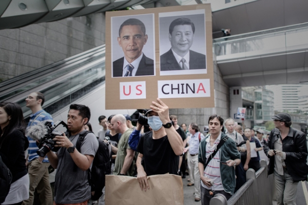 Protesters march to the U.S. consulate in support of Edward Snowden in Hong Kong on June 15, 2013. (AFP/Getty Images)