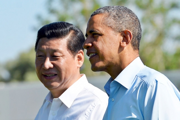 President Barack Obama and Chinese President Xi Jinping meet at the Annenberg Retreat at Sunnylands in California on June 7, 2013. (Jewel Samad/AFP/Getty Images)