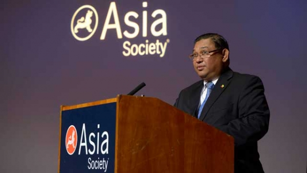 "Myanmar Foreign Minister U Wunna Maung Lwin speaking Wednesday, September 25, 2013, at the ""Responsible Investment in Myanmar's Future"" program at Asia Society in New York. (Elsa Ruiz/Asia Society)"